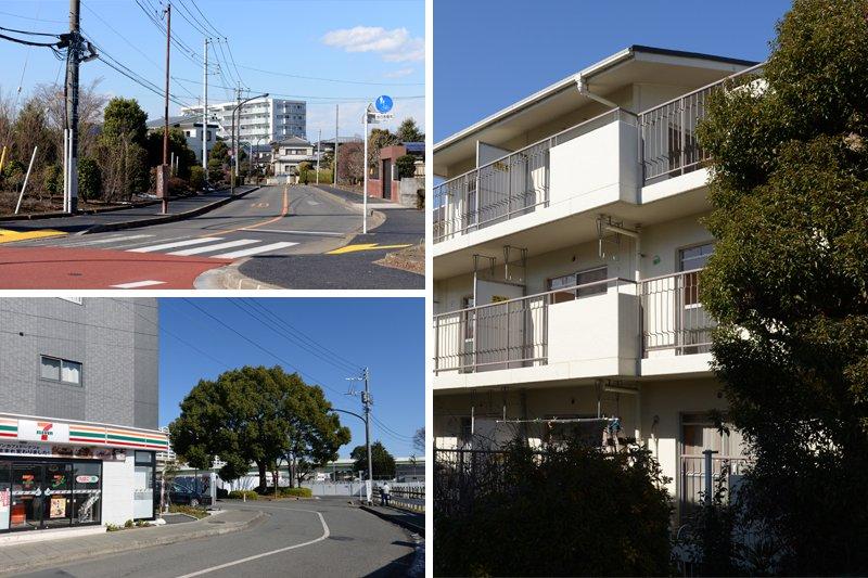 緑いっぱいの高台に建つ、鉄筋3階建てマンション
