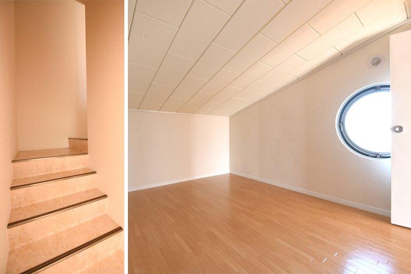 吹き抜けの階段と丸い小窓もついた屋根裏部屋