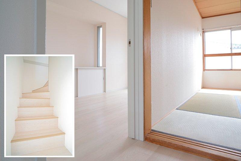 2階へと続く白い階段を上がると南側には洋室と和室が