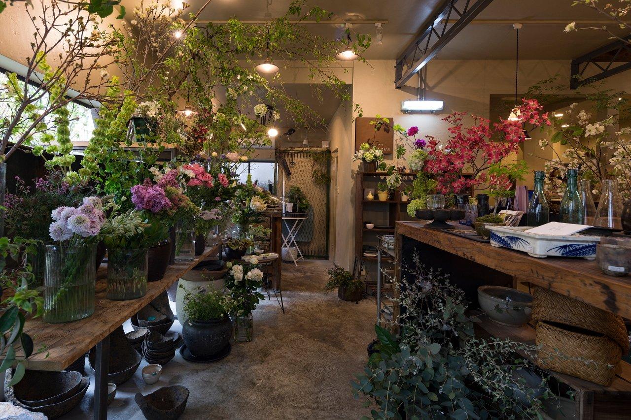 店内の枝ものや花は、見ているだけで不思議な気分を味わえる
