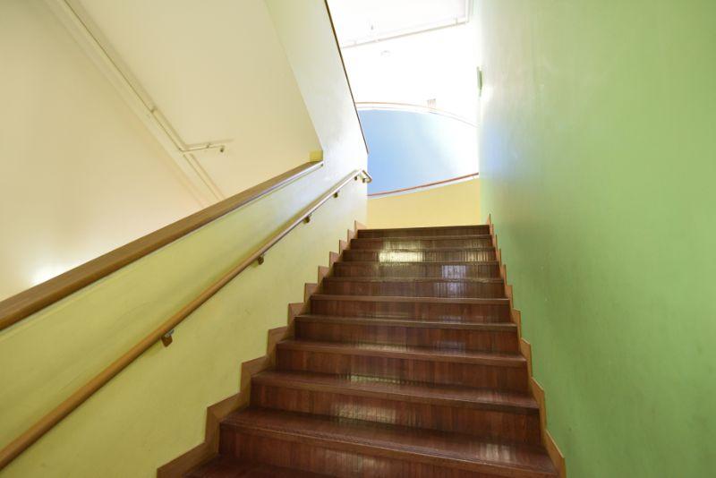 子どもたちの感性を養う木造の階段。自然の光も充分に入り開放感がある